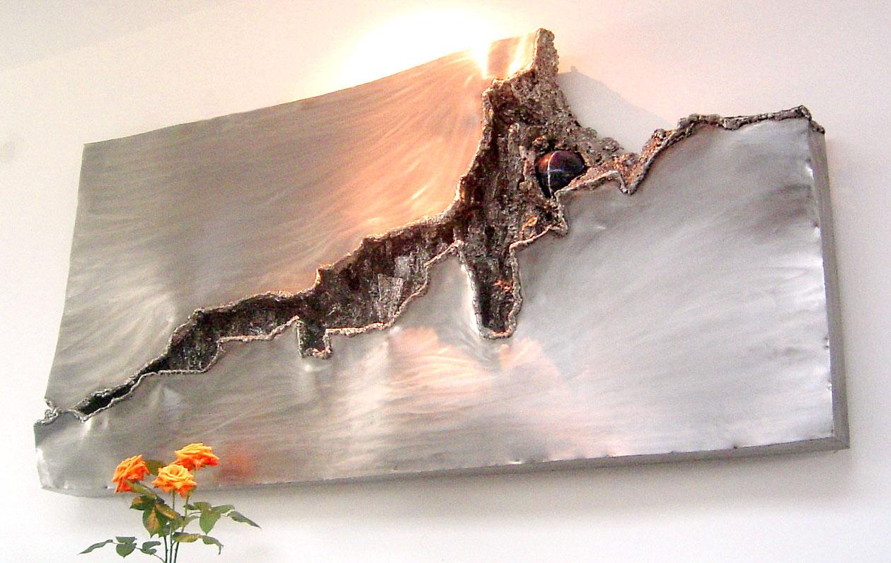 K nstlerische wandgestaltung f r den wohnraum geschwei ter brunnen wandbrunnen aus edelstahl - Aussenwand gestalten ...