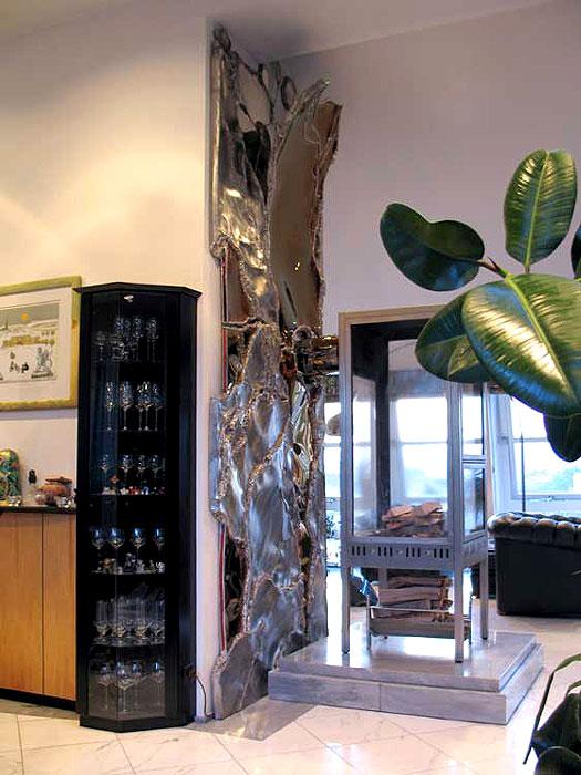 wandverkleidung kunst aus edelstahl metallkunst im modernen design gahr. Black Bedroom Furniture Sets. Home Design Ideas