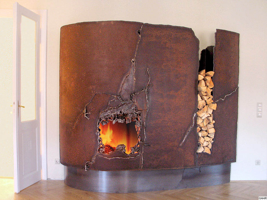Rusted Fireplace Mantel for Living Room