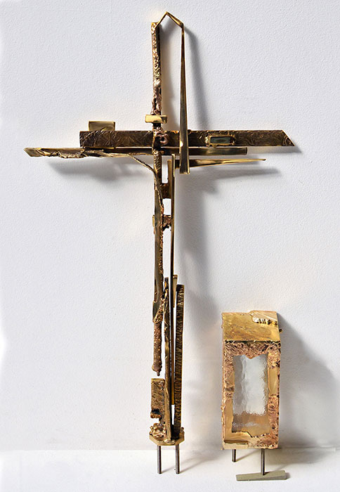 Modern Gravecross of Welded Bronze