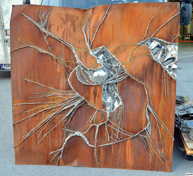 Metal wall art artwork in rusted steel sheet metal art for Metalart polen