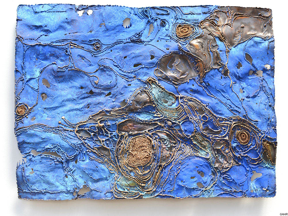 Metal Painting - Blue Patina on Bronze Sheet