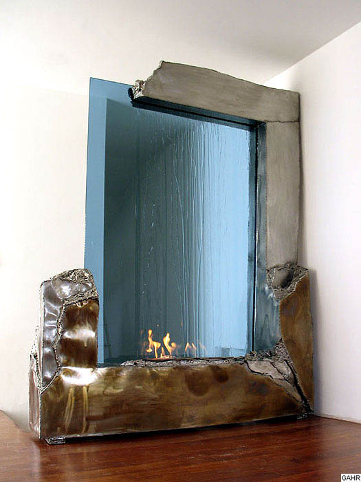 Indoor Waterfall Sculpture with Blue Glass