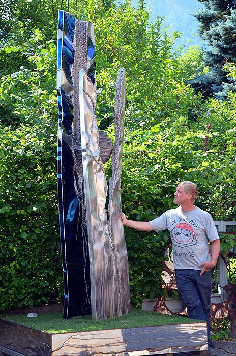 Fountain Sculpture Stainless Steel Artwork Standing
