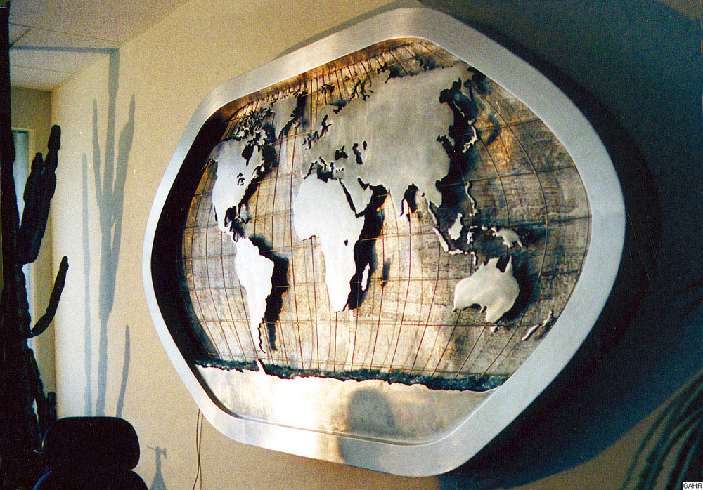 Wall Fountain with a Map of the World